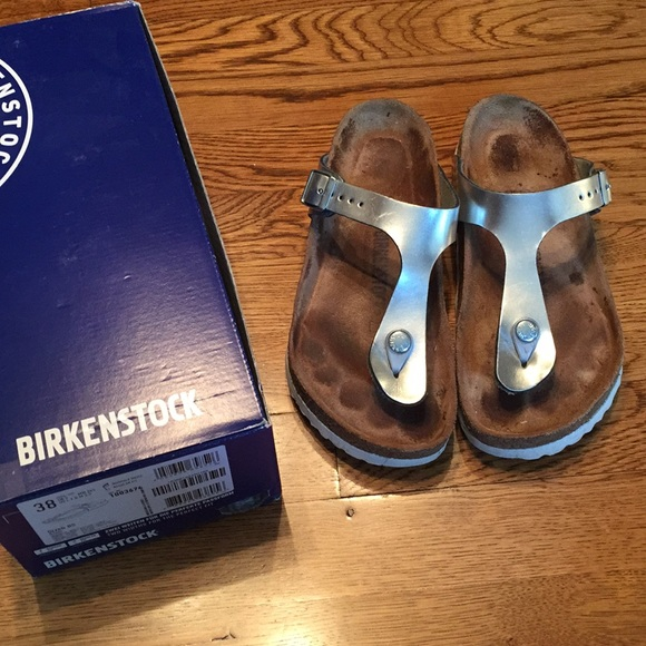 9b88b62664cc Birkenstock Shoes - Birkenstock Silver   White Gizeh with soft footbed